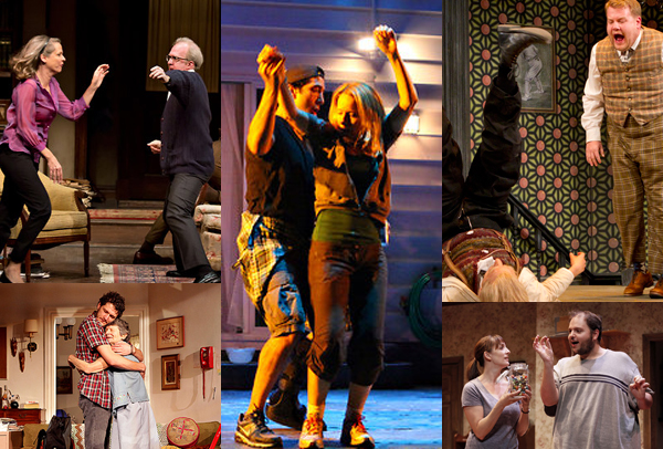 Top Ten Theater of 2012. Shows in (or likely to be in) Top Ten lists of theater, from left: Who's Afraid of Virginia Woolf? (top); 4,000 Miles; Detroit; One Man, Two Guvnors; Falling