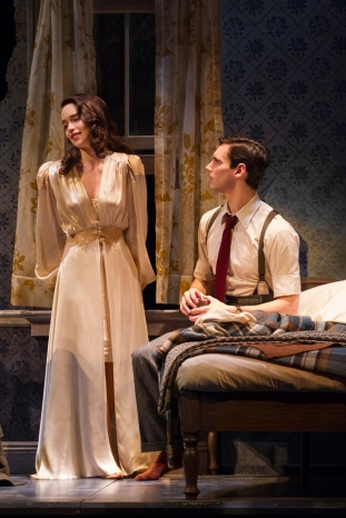 """Emilia Clarke as Holly Golightly and Cory Michael Smith as """"Fred"""" in Breakfast at Tiffany's on Broadway"""