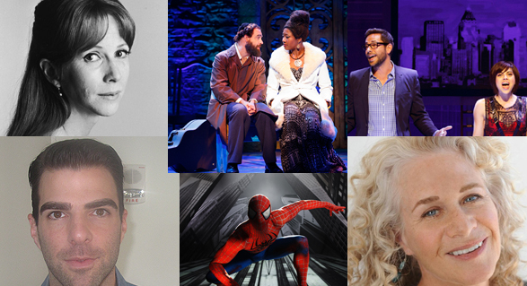 Making theater news in August, from left: Julie Harris, Zachary Quinto, Eric Anderson and Amber Iman of Soul Doctor, Spider-Man, Zachary Levi and Krysta Rodriguez of First Date, Carole King