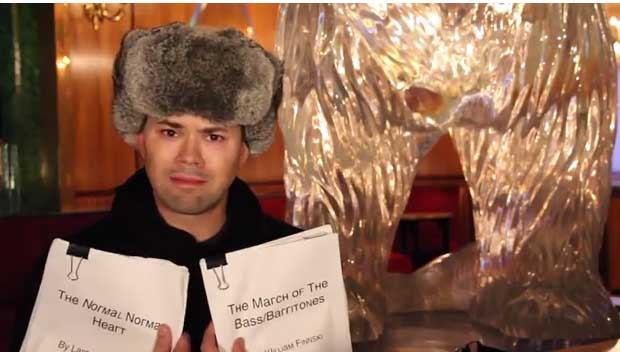 "Andrew Rannells in Russia Tea Room, one of dozens of Broadway stars appearing in the video entitled ""Russian Broadway Shut Down - Government Deems All Theatre Homosexual Propaganda"""