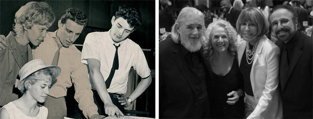 Real-life friends and competitors then and now: Carole King, Cynthia Weil, Barry Mann, Gerry Goffin