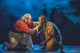 Adam Monley as the Bishp and Ramin Karimloo as Jean Valjean