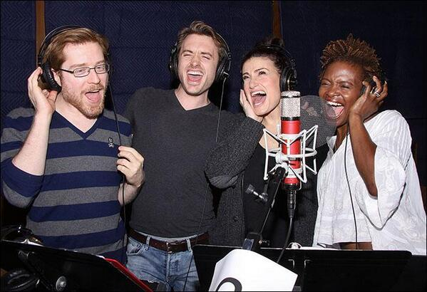 Anthony Rapp, James Snyder, Idina Menzel, and LaChanze at  the If/Then recording session. Album will be out June 3