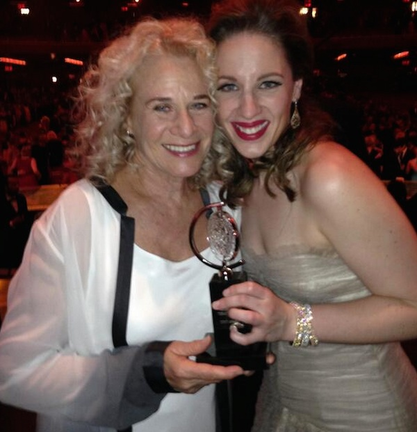 Carole King and Jessie Mueller, the (now) Tony winning performer who plays her in Beautiful.
