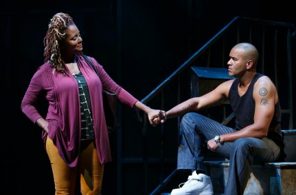 Tonya Pinkins and Christopher Jackson as mother and son in Holler If Ya Hear Me