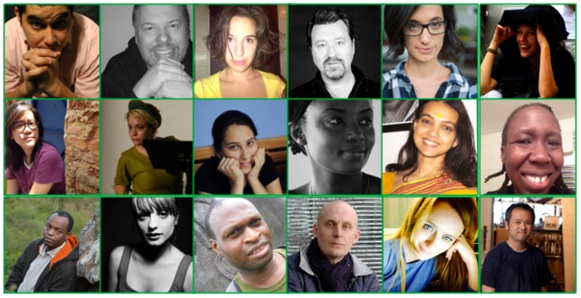 The playwrights of the 2015 Around the World Chain Play, celebrating World Theatre Day