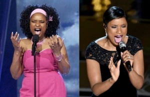 Jennifer Hudson on American Idol in 2004, and on the Oscars 2015