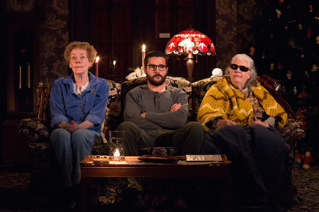 """Signature Theatre presents """"John"""" A New Play by Annie Baker; Directed by Sam Gold Pictured: Georgia Engel as Mertis Katherine Graven, Christopher Abbott as Elias Schreiber-Hoffman & Lois Smith as Genevieve Marduk"""