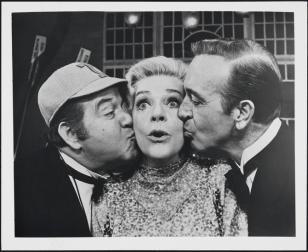 Stubby Kaye as Pooch Kearney, Alice Faye as Professor Kenyon, and John Payne as Bill Johnson in Good News 1974