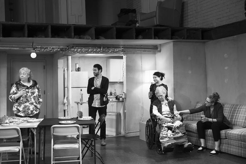 Jayne Houdyshell (Deirdre Blake), Arian Moayed (Richard Saad), Sarah Steele (Brigid Blake), Lauren Klein (Fiona Blake), Cassie Beck (Aimee Blake). Photo by Brigitte Lacombe