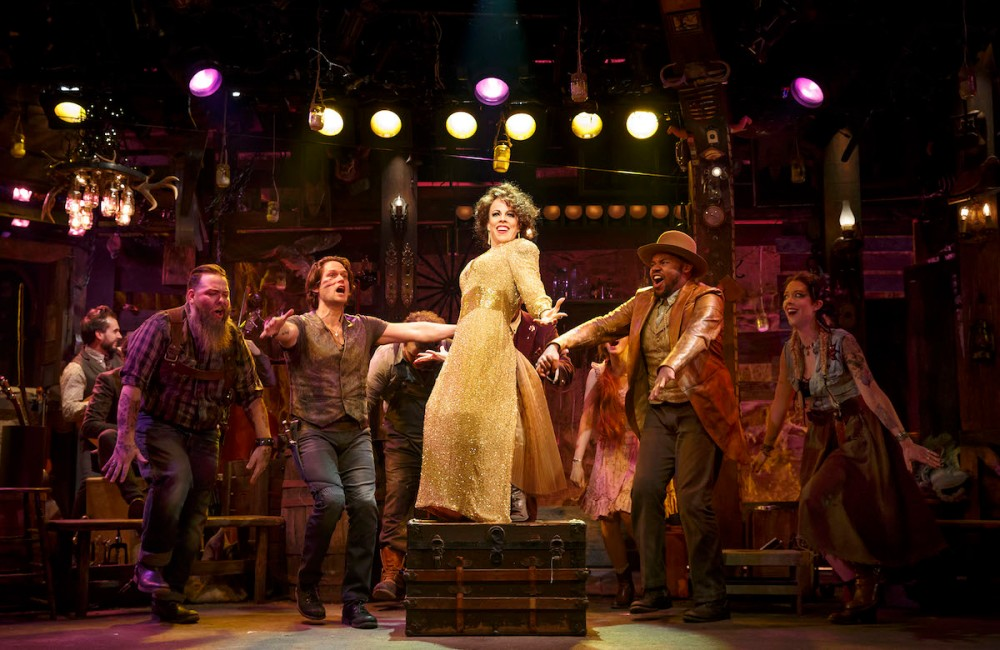 Leslie Kritzer and company in Robber Bridegroom. Photo by Joan Marcus