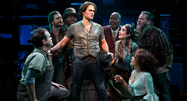 Steven Pasquale and the company of Robber Bridegroom. Photo by Joan Marcus