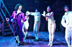 "Daveed Diggs as Thomas Jefferson with members of the ""Hamilton"" ensemble"