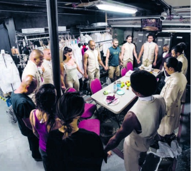"""""""Hamilton"""" cast in a prayer circle before the show."""