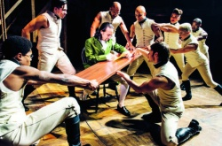 "Lin-Manuel Miranda as Alexander Hamilton with members of the ""Hamilton"" ensemble"