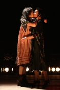 """Adina Verson and Katrina Lenk In """"Indecent,"""" coming to Broadway in 2017. Paula Vogel's play tells the story of the hundred-year-old Yiddish play that featured the first Lesbian kiss on Broadway. The actors playing the troupe keep on referring to the kiss as """"the rain scene."""" When we finally see the rain scene, it's not so much the kiss as the rain that overwhelms us."""