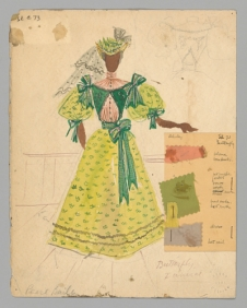 Watercolor costume sketch by Lemuel Ayers for the musical St. Louis Woman, starring Pearl Bailey, 1945