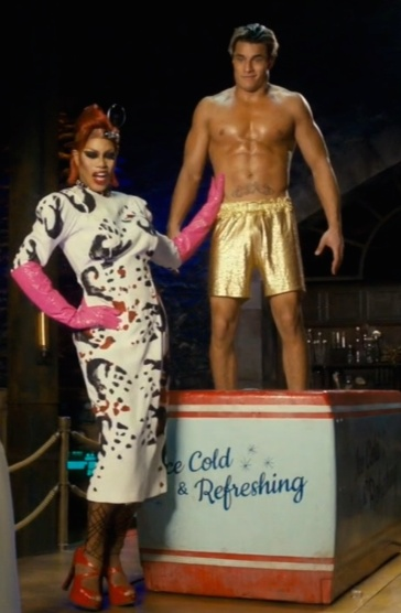 """Laverne Cox (Dr. Frank-N-Furter) and Staz Nair (Rocky Horror) in """"I Can Make You A Man"""""""