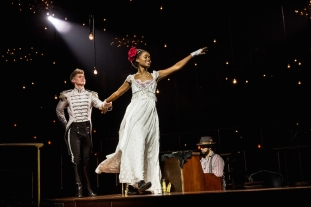 Lucas Steele as Anatole and Denee Benton as Natasha
