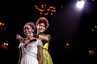 Denee Benton as Natasha and Amber Gray as the villainous Helene