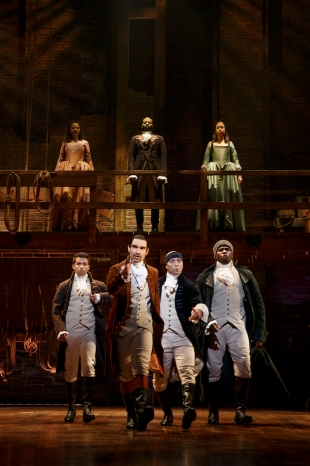 Front row: Jordan Fisher as John Laurens, Javier Munoz as Alexander Hamilton, Seth Stewart as the Marquis de Lafayette and Okieriete Onaodowan as Hercules Mulligan (who is leaving this month) Top row: Mandy Gonzalez as Angelica Hamilton, Brandon Victor Dixon as Aaron Burr, Lexi Lawson as Eliza Hamilton.
