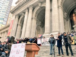 Writers Resist reading in front of the New York Public Library on January 16, 2017, Martin Luther King Jr. Day
