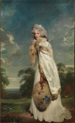 The Irish actress Elizabeth Farren made her London debut in 1777 as Kate Hardcastle in Oliver Goldsmith's She Stoops to Conquer. She was at the height of her career when this canvas was shown at the Royal Academy in 1790. Seven years later, she married the twelfth earl of Derby. This beautiful portrait helped to secure for Lawrence the role of successor to the elderly Sir Joshua Reynolds (1723–1792).