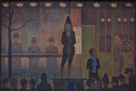 Georges Seurat (French, Paris 1859–1891 Paris) Circus Sideshow (Parade de cirque), 1887–88 Oil on canvas; 39 1/4 x 59 in. (99.7 x 149.9 cm) The Metropolitan Museum of Art, New York, Bequest of Stephen C. Clark, 1960 (61.101.17) http://www.metmuseum.org/Collections/search-the-collections/437654