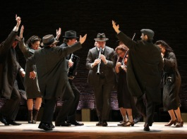 (l-r): Aaron Halva (with accordion), Matt Darriau (with clarinet), Lisa Gutkin (with violin) and company in INDECENT,