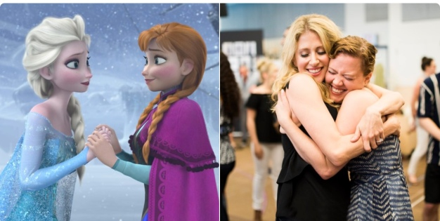 Elsa and Anna -- cartoon and stage versions Caissie Levy and Patti Murin break the ice at the first day of rehearsals for Frozen the stage musical. Opening in August in Denver, the show is planning to start at Broadway's St. James Theater next Spring.